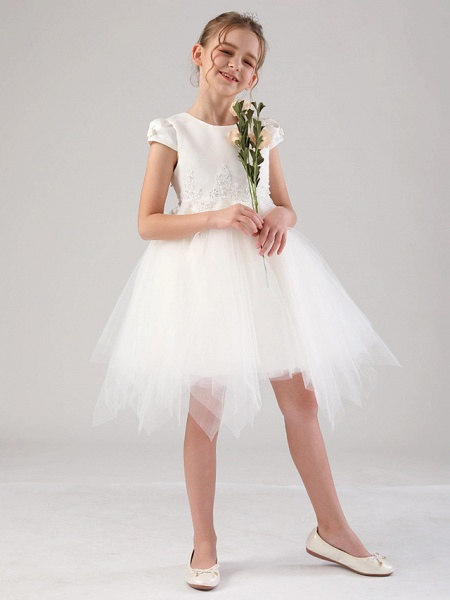 Princess / Ball Gown Royal Length Train / Medium Length Wedding / Event / Party Flower Girl Dresses - Satin / Tulle Cap Sleeve Jewel Neck With Beading / Appliques / Tiered_4