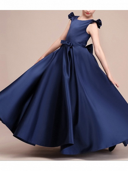 A-Line Floor Length Pageant Flower Girl Dresses - Polyester Cap Sleeve Jewel Neck With Ruching_3