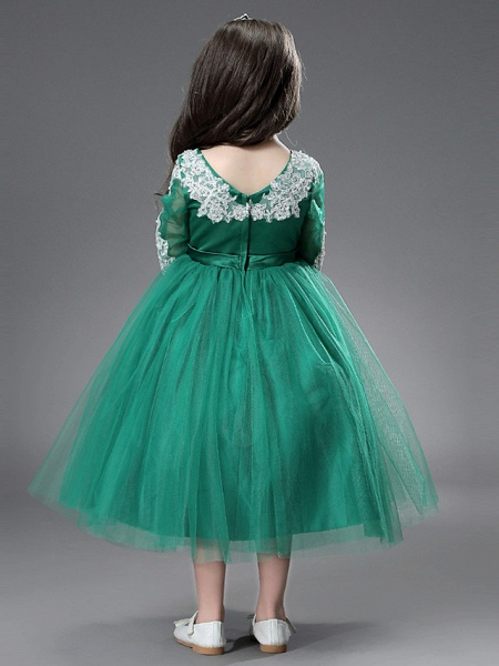 Princess / Ball Gown Ankle Length / Royal Length Train Wedding / Formal Evening Flower Girl Dresses - Tulle / Matte Satin Long Sleeve Jewel Neck With Beading / Appliques / Split Front_6