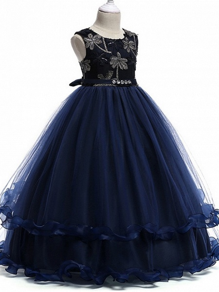 Princess Round Floor Length Cotton Junior Bridesmaid Dress With Bow(S) / Crystals / Appliques_5