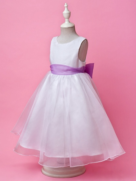 Princess / A-Line Floor Length Wedding Party Organza / Satin Sleeveless Jewel Neck With Sash / Ribbon / Buttons / Draping / Spring / Fall / Winter_2
