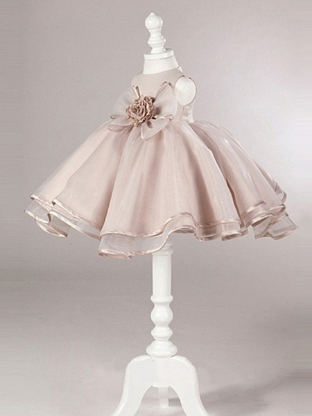 Ball Gown Knee Length Pageant Flower Girl Dresses - Polyester Sleeveless Jewel Neck With Bow(S)_2