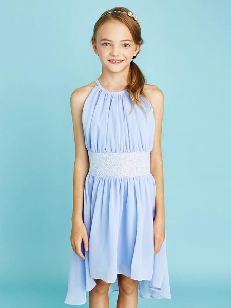 Sheath / Column Jewel Neck Asymmetrical Chiffon Junior Bridesmaid Dress With Sequin / Natural_8