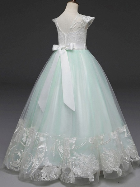 Princess Long Length Wedding / Party / First Communion Flower Girl Dresses - Lace / Tulle Cap Sleeve Jewel Neck With Belt / Crystals / Crystals / Rhinestones_4