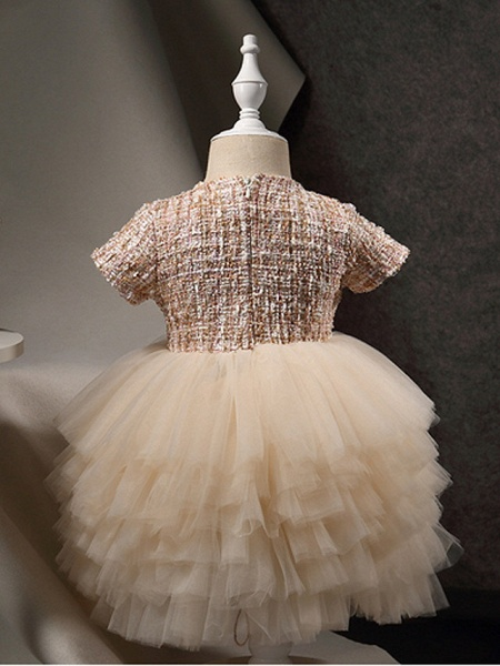 Princess Ankle Length Pageant Flower Girl Dresses - Polyester Short Sleeve Jewel Neck With Beading / Appliques_3
