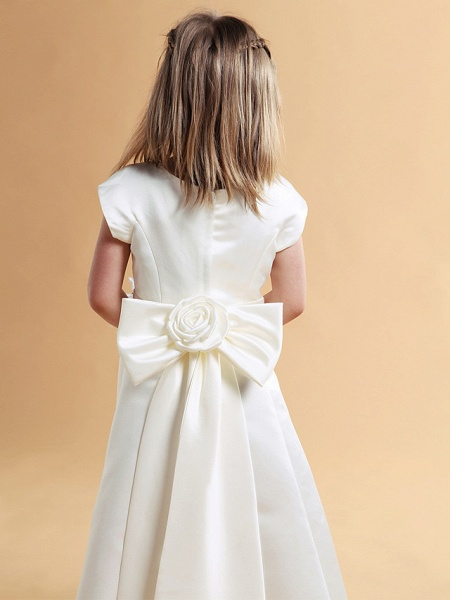 Princess / A-Line Floor Length First Communion / Wedding Party Satin Short Sleeve Jewel Neck With Sash / Ribbon / Bow(S) / Spring / Summer / Fall / Winter_4