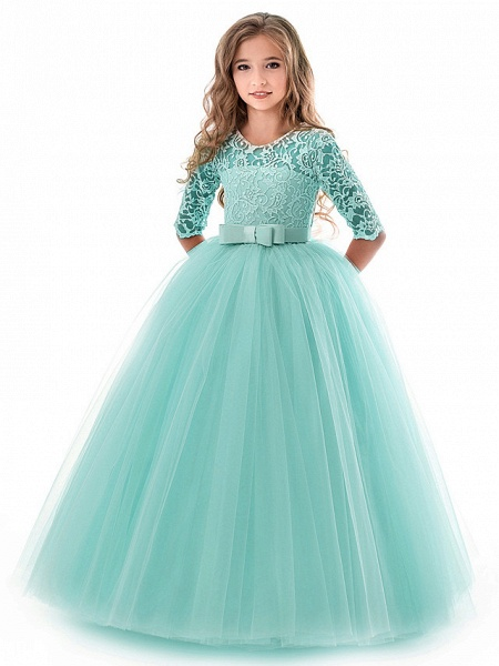 Princess Long Length Wedding / Party / Pageant Flower Girl Dresses - Lace / Tulle Half Sleeve Jewel Neck With Lace / Belt_5