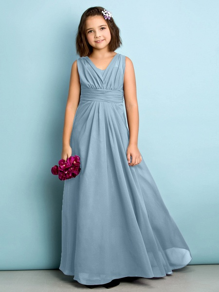 A-Line V Neck Floor Length Chiffon Junior Bridesmaid Dress With Criss Cross / Natural / Mini Me_30