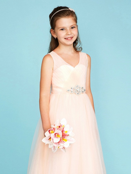 Princess / A-Line V Neck Floor Length Tulle Junior Bridesmaid Dress With Criss Cross / Crystals / Wedding Party_5