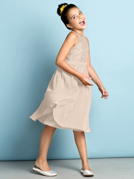 A-Line Jewel Neck Knee Length Chiffon / Lace Junior Bridesmaid Dress With Lace / Natural / Mini Me_15