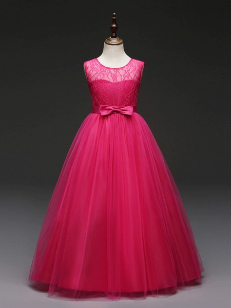 Ball Gown Floor Length Wedding / Party Flower Girl Dresses - Tulle Sleeveless Jewel Neck With Bow(S) / Solid_10