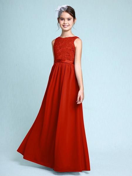 Sheath / Column Bateau Neck Floor Length Chiffon / Lace Junior Bridesmaid Dress With Lace / Natural_15