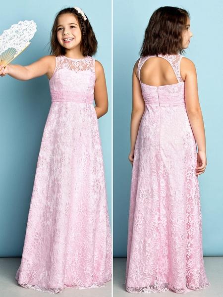 Sheath / Column Jewel Neck Floor Length Lace Junior Bridesmaid Dress With Lace / Natural / Mini Me_2