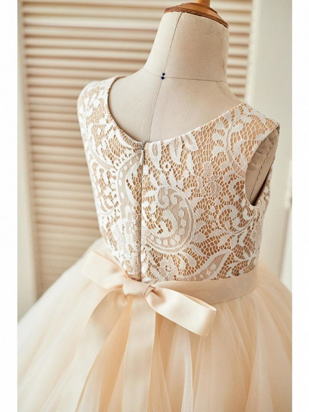 A-Line Knee Length Pageant Flower Girl Dresses - Lace / Tulle Sleeveless Scoop Neck With Sash / Ribbon_4