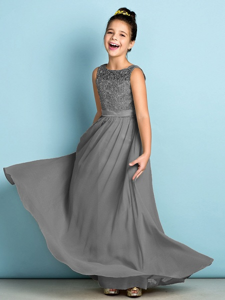 A-Line Scoop Neck Floor Length Chiffon / Lace Junior Bridesmaid Dress With Lace / Natural / Mini Me_26