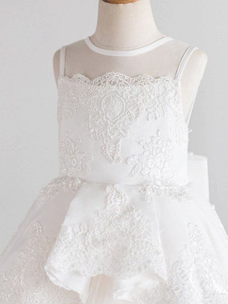 Princess Knee Length Wedding / First Communion / Birthday Flower Girl Dresses - Satin / Tulle Sleeveless Jewel Neck With Bows / Appliques_3