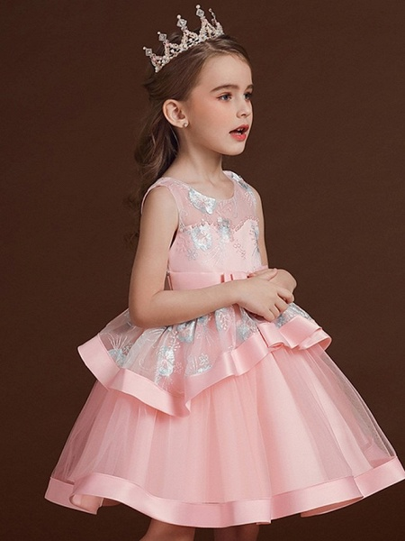 Princess / Ball Gown Knee Length Wedding / Party Flower Girl Dresses - Tulle Sleeveless Jewel Neck With Bow(S) / Tier / Embroidery_4