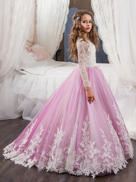 Ball Gown Sweep / Brush Train Wedding / Birthday / Pageant Flower Girl Dresses - Lace / Tulle / Cotton Long Sleeve Jewel Neck With Lace / Beading / Appliques_1
