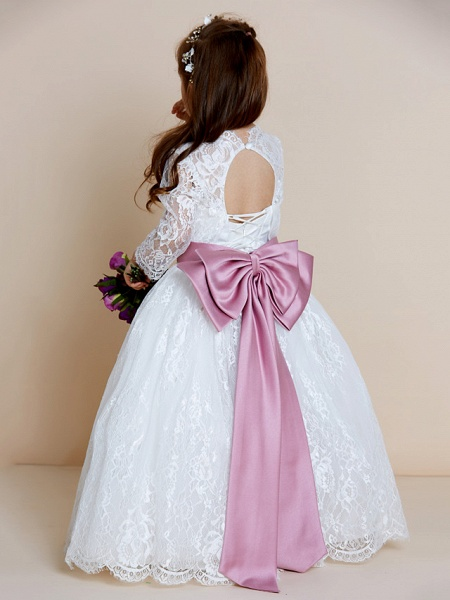 Ball Gown Floor Length Wedding / First Communion Flower Girl Dresses - Lace / Tulle Long Sleeve V Neck With Lace / Sash / Ribbon / Bow(S)_2
