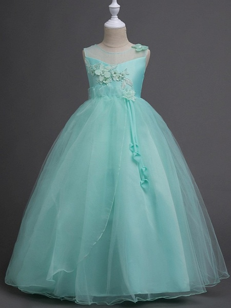 Princess / Ball Gown Floor Length Wedding / Party Flower Girl Dresses - Tulle Sleeveless Illusion Neck With Bow(S) / Appliques_2