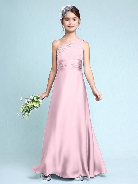 Sheath / Column One Shoulder Floor Length Chiffon Satin Junior Bridesmaid Dress With Ruched / Side Draping / Natural_11