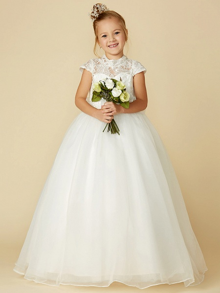 Ball Gown Floor Length Wedding / First Communion Flower Girl Dresses - Lace / Tulle Short Sleeve High Neck With Lace / Sash / Ribbon / Bow(S)_4