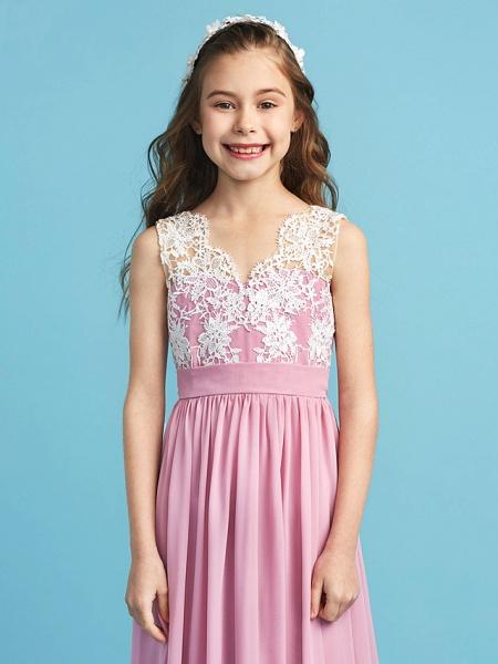 Princess / A-Line Queen Anne Floor Length Chiffon / Lace Junior Bridesmaid Dress With Lace / Sash / Ribbon / Pleats_6