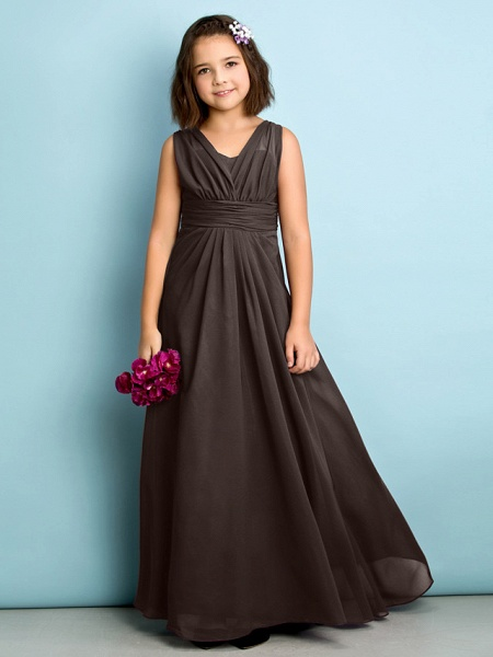 A-Line V Neck Floor Length Chiffon Junior Bridesmaid Dress With Criss Cross / Natural / Mini Me_23