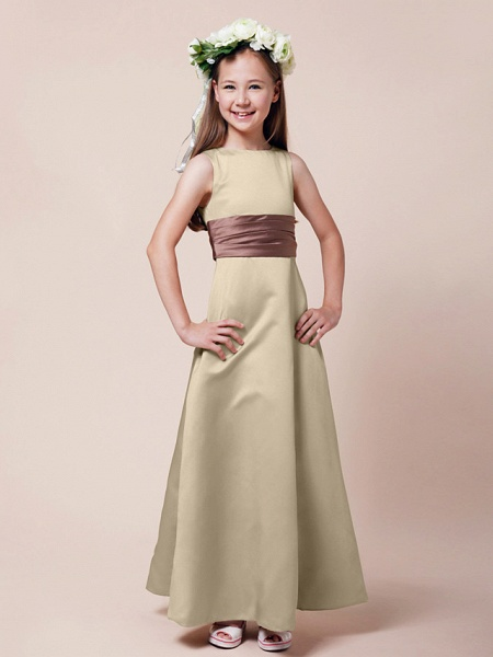 Princess / A-Line Bateau Neck Floor Length Satin Junior Bridesmaid Dress With Sash / Ribbon / Ruched / Spring / Summer / Fall / Winter / Apple_18