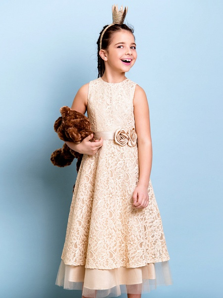 A-Line Jewel Neck Tea Length All Over Floral Lace Junior Bridesmaid Dress With Sash / Ribbon / Bow(S) / Flower / Natural_8