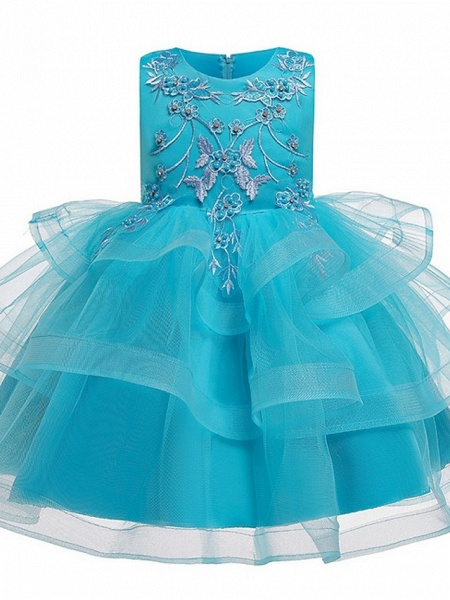 Princess / Ball Gown Knee Length Wedding / Party Flower Girl Dresses - Satin / Tulle Sleeveless Jewel Neck With Bow(S) / Beading / Tier_10