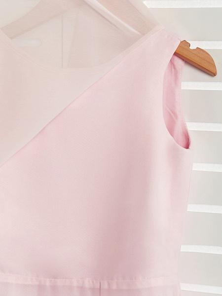 A-Line Jewel Neck Maxi Chiffon Junior Bridesmaid Dress With Ruffles_7