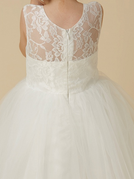 Princess Tea Length Wedding / First Communion Flower Girl Dresses - Lace / Tulle Sleeveless Jewel Neck With Lace_7