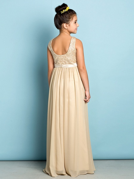 A-Line Scoop Neck Floor Length Chiffon / Lace Junior Bridesmaid Dress With Lace / Natural / Mini Me_5
