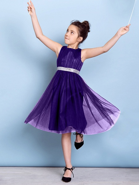 A-Line Jewel Neck Knee Length Tulle Junior Bridesmaid Dress With Sash / Ribbon / Sequin / Draping / Natural_45