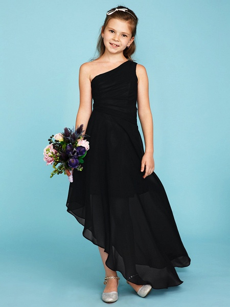 A-Line One Shoulder Asymmetrical Chiffon Junior Bridesmaid Dress With Side Draping / Wedding Party_35