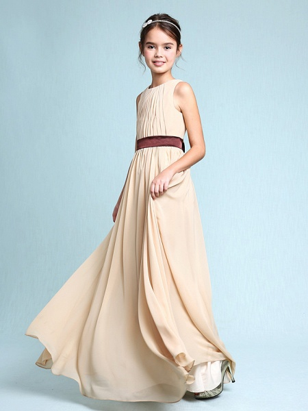 Sheath / Column Scoop Neck Floor Length Chiffon Junior Bridesmaid Dress With Draping / Natural_6