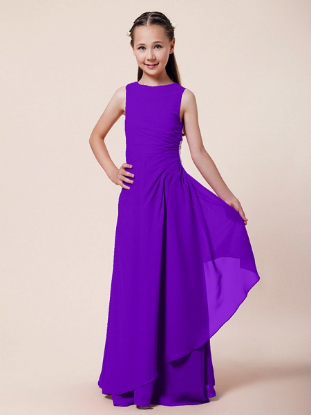 A-Line / Sheath / Column Bateau Neck Floor Length Chiffon Junior Bridesmaid Dress With Beading / Side Draping / Spring / Summer / Fall / Winter / Wedding Party_33