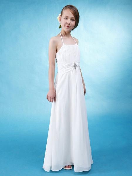 Princess / A-Line Halter Neck Floor Length Chiffon / Satin Junior Bridesmaid Dress With Sash / Ribbon / Ruched / Draping / Spring / Summer / Fall / Wedding Party / Natural_2