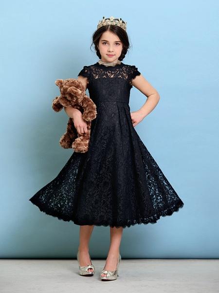 Princess / A-Line Jewel Neck Tea Length Lace Junior Bridesmaid Dress With Pleats / Natural_5