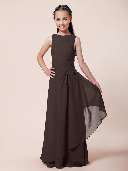 A-Line / Sheath / Column Bateau Neck Floor Length Chiffon Junior Bridesmaid Dress With Beading / Side Draping / Spring / Summer / Fall / Winter / Wedding Party_20