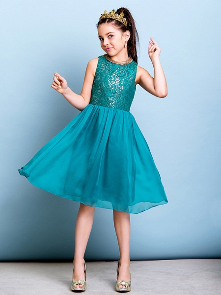 A-Line Jewel Neck Knee Length Chiffon / Sequined Junior Bridesmaid Dress With Sequin_1