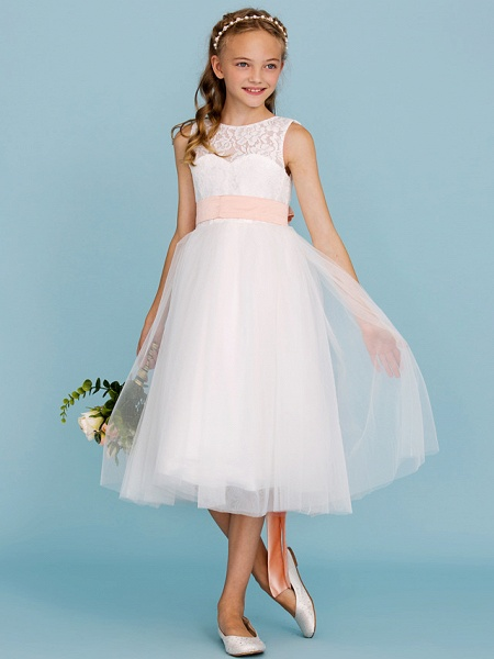 Princess / A-Line Crew Neck Tea Length Lace / Tulle Junior Bridesmaid Dress With Sash / Ribbon / Pleats / Wedding Party / Open Back / See Through_1