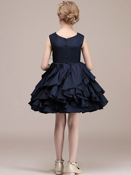 A-Line Round Short / Mini Satin Junior Bridesmaid Dress With Tier / Cascading Ruffles_5