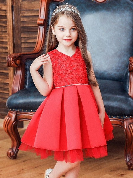 Princess / Ball Gown Knee Length Wedding / Party Flower Girl Dresses - Tulle Sleeveless V Neck With Sash / Ribbon / Bow(S) / Appliques_1