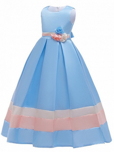 A-Line Round Floor Length Cotton Junior Bridesmaid Dress With Bow(S) / Ruching_4