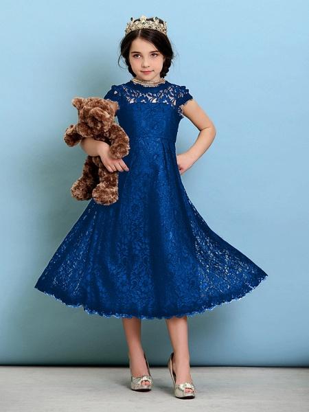 Princess / A-Line Jewel Neck Tea Length Lace Junior Bridesmaid Dress With Pleats / Natural_35