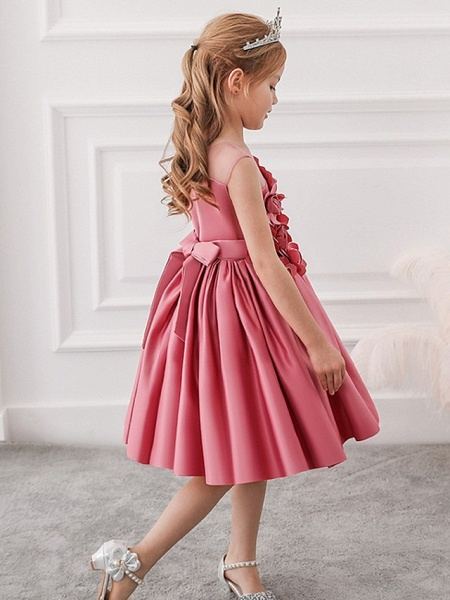 Princess / Ball Gown Knee Length Wedding / Party Flower Girl Dresses - Tulle Sleeveless Jewel Neck With Bow(S) / Pleats / Flower_4