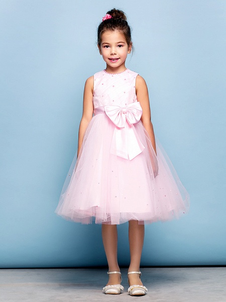 Ball Gown Mini Me Cocktail Party Dress Straps Sleeveless Knee Length Tulle With Sash / Ribbon Bow(S) Beading_7