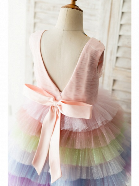 Ball Gown Knee Length Wedding / Birthday Flower Girl Dresses - Tulle Sleeveless Jewel Neck With Bow(S) / Pearls_4